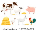 animal farm set with stack of... | Shutterstock .eps vector #1270524079