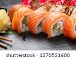 sushi with chopsticks. sushi... | Shutterstock . vector #1270531600