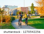 girls on bicycles in the public ... | Shutterstock . vector #1270542256