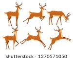 Brown Deer Icon Set. Deer Run...