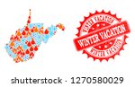 composition of snowflake and... | Shutterstock .eps vector #1270580029
