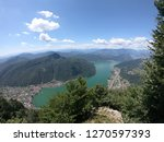 Panasonic view of Lake Lugano in Switzerland taken from the nearby mountains