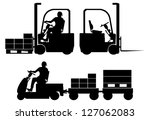 silhouettes of tow tractor and... | Shutterstock .eps vector #127062083