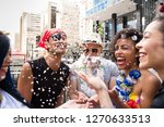 Stock photo carnaval party crowd of brazil people in costume celebrating in parade festival happy brazilian 1270633513