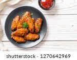 baked barbecue chicken wings... | Shutterstock . vector #1270642969