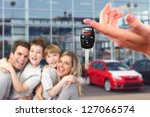 happy family with a new car.... | Shutterstock . vector #127066574