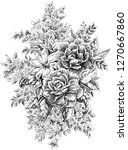 hand drawn flowers and leaves | Shutterstock . vector #1270667860