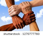 multiracial group with black... | Shutterstock . vector #1270777783