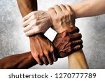 multiracial group with black...