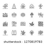 trees flat line icons set.... | Shutterstock .eps vector #1270819783