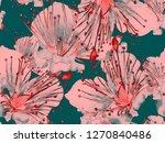 bold flower pattern. big jungle ...   Shutterstock . vector #1270840486