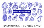 line hand drawn fruits and... | Shutterstock .eps vector #1270874749
