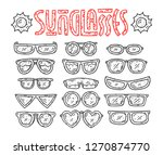sunglasses hand drawn line... | Shutterstock .eps vector #1270874770