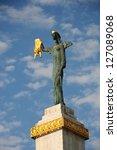 Small photo of BATUMI, ADJARA, GEORGIA - SEPTEMBER 19: Medea statue holding the Golden Fleece on September 19, 2012 in Batumi, one of the main Colchian cities. The statue is sculpted by architect Davit Khmaladze.