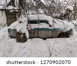 vintage car  car under the snow ... | Shutterstock . vector #1270902070
