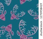 deer heads seamless pattern | Shutterstock .eps vector #1270958419