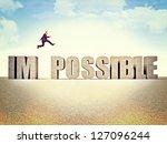 man jump over possible word | Shutterstock . vector #127096244