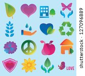 set of abstract love symbols  ... | Shutterstock .eps vector #127096889