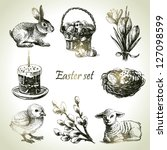 Easter Set. Hand Drawn...