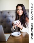 young beautiful woman drinking...   Shutterstock . vector #1270996510