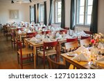 table decoration at a wedding | Shutterstock . vector #1271012323