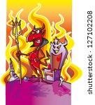 cartoon devil in hell | Shutterstock .eps vector #127102208