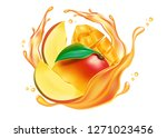 mango fruit and liquid splash... | Shutterstock .eps vector #1271023456