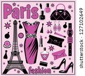 paris fashion set. vector | Shutterstock .eps vector #127102649