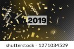 2019 tinsel confetti isolated ... | Shutterstock .eps vector #1271034529