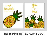card template pineapple vector...   Shutterstock .eps vector #1271045230