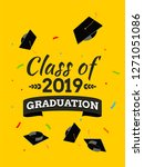black graduate caps and... | Shutterstock .eps vector #1271051086