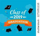 black graduate caps and... | Shutterstock .eps vector #1271051110