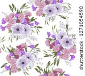 flower pattern with hand drawn... | Shutterstock .eps vector #1271054590