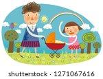 mother   children going for...   Shutterstock .eps vector #1271067616