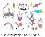 cute unicorn vector with... | Shutterstock .eps vector #1271070166