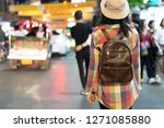tourist  travel and backpack... | Shutterstock . vector #1271085880