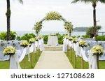 wedding set up in garden inside ... | Shutterstock . vector #127108628