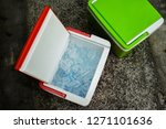 top view of picnic cooler box... | Shutterstock . vector #1271101636