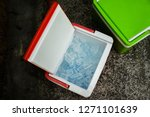 top view of picnic cooler box... | Shutterstock . vector #1271101639