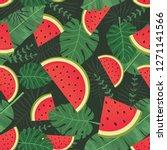 exotic summer watermelon... | Shutterstock .eps vector #1271141566