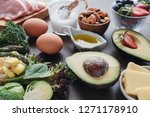 ketogenic diet  low carb  high... | Shutterstock . vector #1271178910
