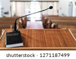 bible on pulpit in church  with ... | Shutterstock . vector #1271187499