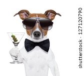 Stock photo party dog toasting with a martini glass with olives 127120790