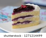 blueberry cheese mousse cake in ... | Shutterstock . vector #1271214499