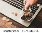 save and finance concept  hand... | Shutterstock . vector #1271233816
