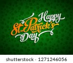 Stock vector irish lucky saint patrick s day text label design elements on green background 1271246056