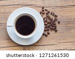 espresso coffee cup and beans... | Shutterstock . vector #1271261530