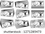 bunch of 10 us dollar banknote...   Shutterstock .eps vector #1271285473