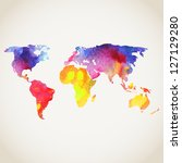 world vector map painted with... | Shutterstock .eps vector #127129280