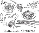 pasta   italian food vector set | Shutterstock .eps vector #127132286